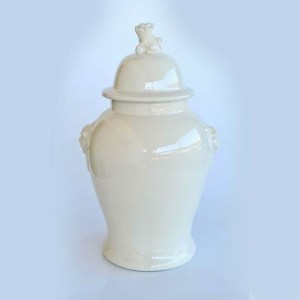 Extra Large Cream Ginger Jar with Dog Lid