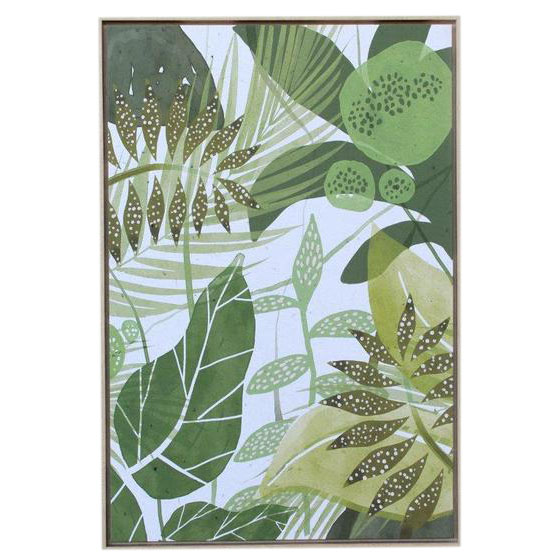Green Leafs Framed Picture