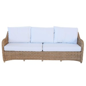 3.5 SEATER OUTDOOR CANE COUCH OFF-WHITE CUSHIONS