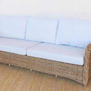 3.5 SEATER OUTDOOR CANE COUCH OFF-WHITE CUSHIONS SIDE VIEW