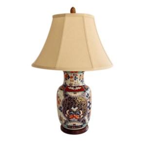 NAVY & MAROON CHINA LAMP BASE & SHADE