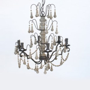 WOOD AND BLACK 6 LIGHT CHANDELIER