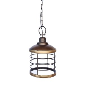 GOLD METAL CAGE HANGING LIGHT