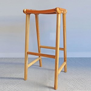 Leather & Wood Bar Stool
