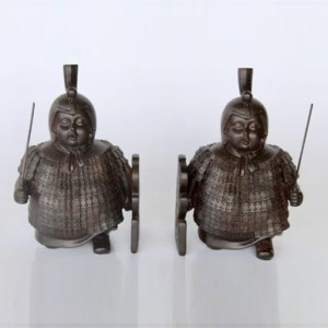 Pair of Chinese soldier bookends