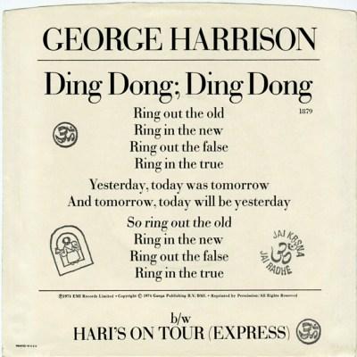 Beatles:GeorgeHarrison:45:DingDong:Sleeve:Back