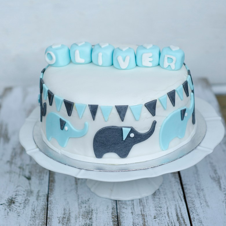 Christening cake with elephants