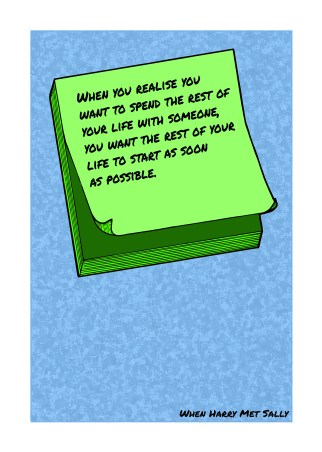 Post-It Love Notes - 'When Harry Met Sally' | A5 Greetings Card Design | Adobe Illustrator | 2016