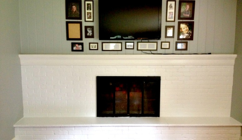 Living Room Progress: Painted Fireplace