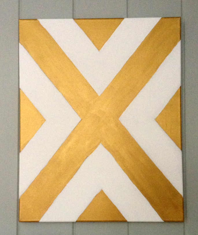 Gold and White Painted Canvas