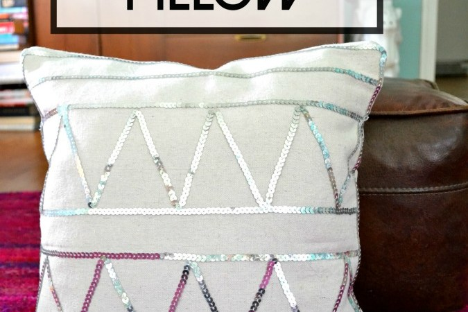 DIY Sequin Embellished Accent Pillow