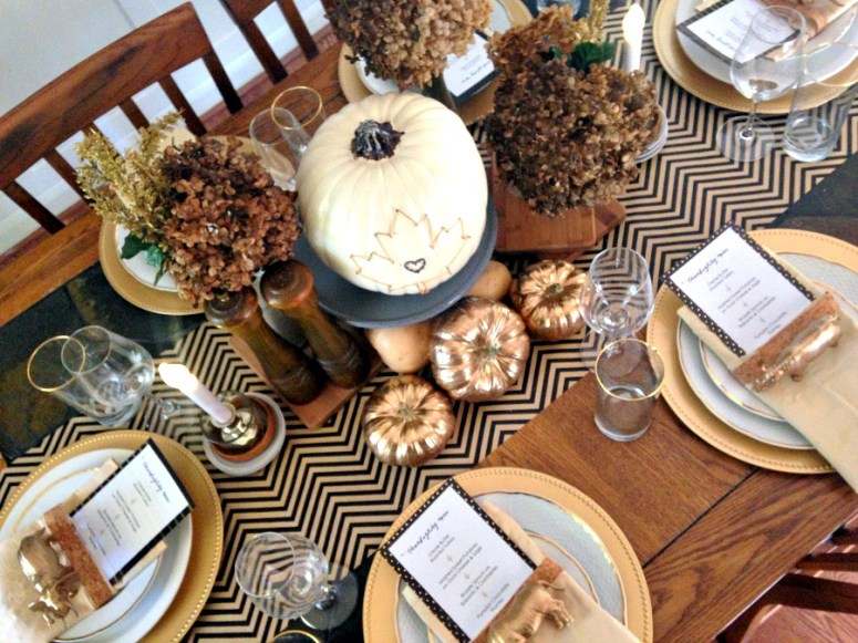 White, Black & Gold Thanksgiving Table