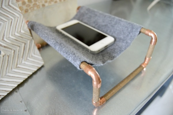 Easy copper and wood cell phone holder