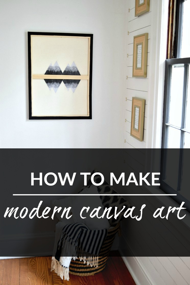 This modern diy canvas art was so easy to make! Check out the tutorial for how to make your own diy canvas art. Art can be expensive but this idea will save you money and let you customize the art in your home! #diyart #canvasart #makeyourownart #diycheapart #customcanvasart