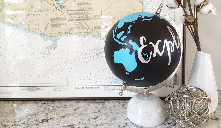 DIY Painted Globe with Transferred Type