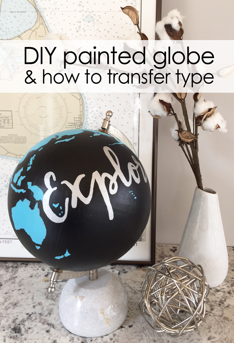 Paint an old globe with bold acrylic paints and add metallic type for a chic, worldly decoration