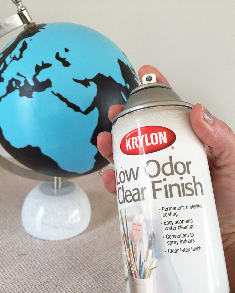 paint an old globe with bold colors and sealer