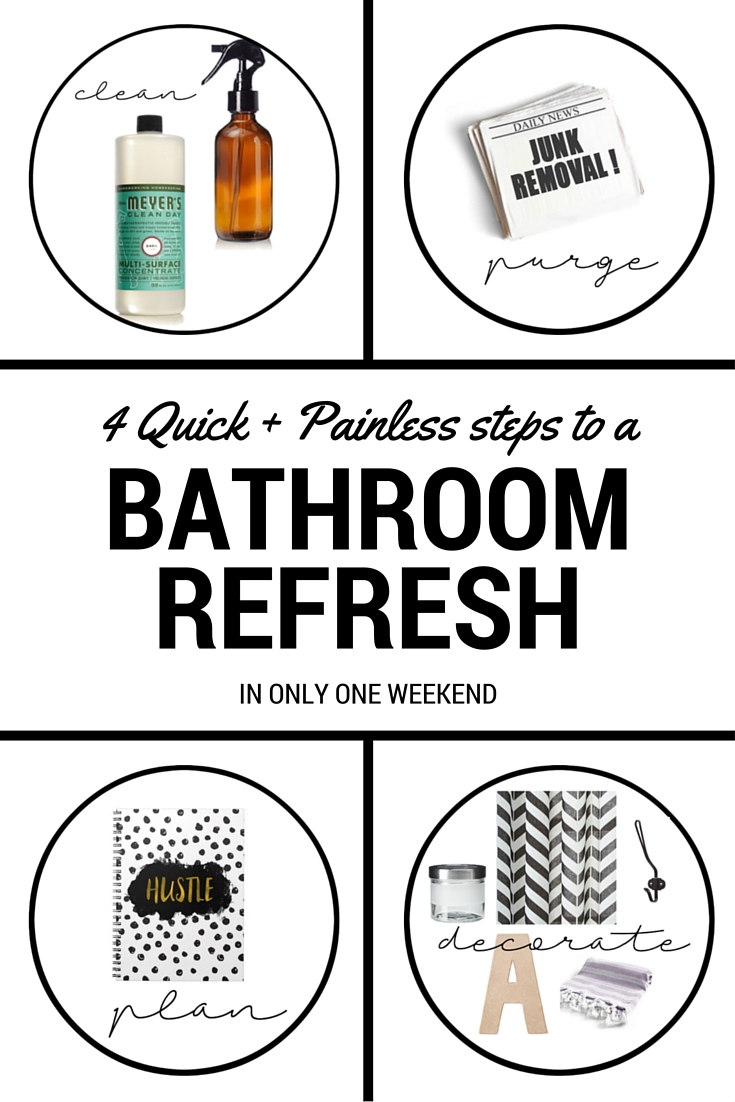 Here's the cure for your dull bathroom! 4 Steps to a quick + painless WEEKEND bathroom refresh!!