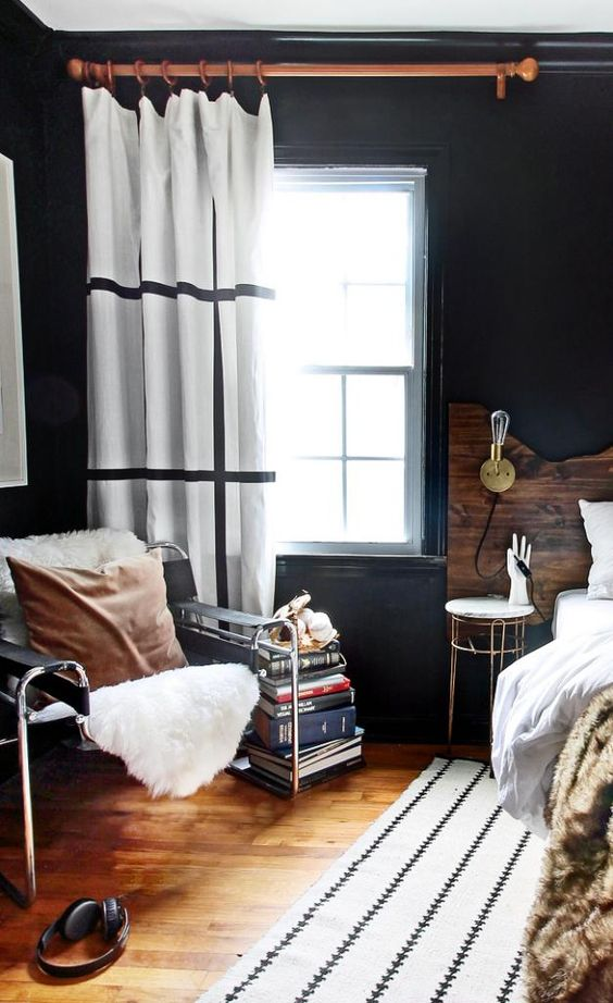 Gorgeous DIY headboard and beautiful black walls