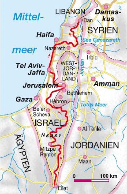 Israle_National_Trail_Karte