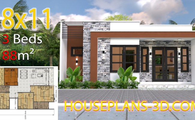 House Design 8x11 With 3 Bedrooms Full Plans House Plans 3d