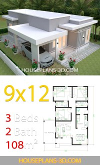 House design Plans 9x12 with 3 Bedrooms terrace roof ...