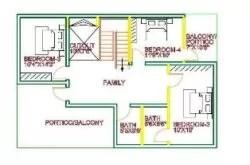 1st floor house plan 35x45 west face