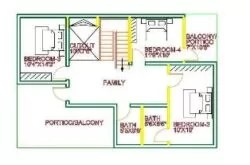 1st floor house plan 35x45 west face