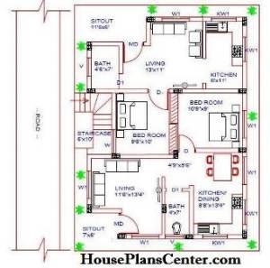 30x40 2 flats house plan