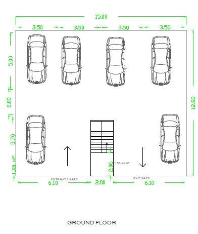 40x40 house plan 2 BHK double house plan parking floor