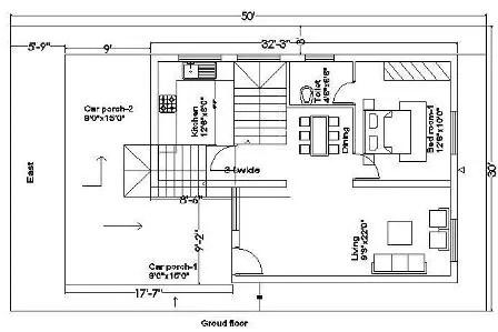 30x50 house plan ground floor 217
