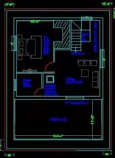 25x35 House plans terrace floor