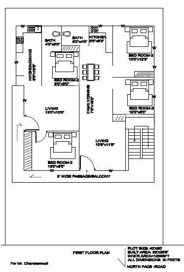 40x60 north luxury house plan 1st floor