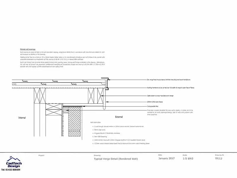 Typical Verge Detail With Render Wall Finish Drawing