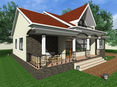 three bedroom bungalow with attic floor design
