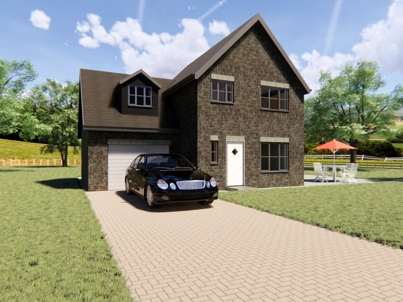 three bedroom detached house design