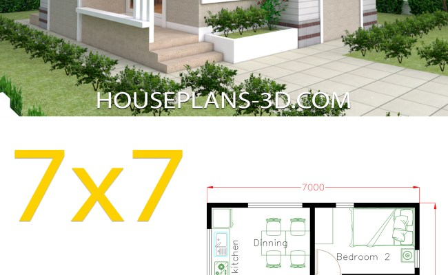 Small House Design Plans 7x7 With 2 Bedrooms House Plans 3d
