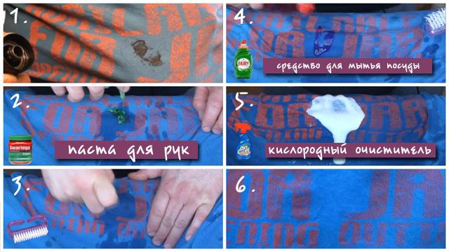 Коллаж удаление машинного масла с помощью пасты для рук средства для мытья посуды и кислородного очистителя