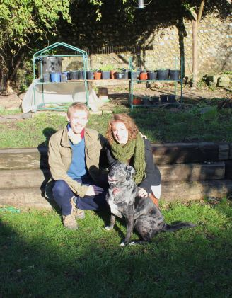 Us and Midge - what a beautiful dog!