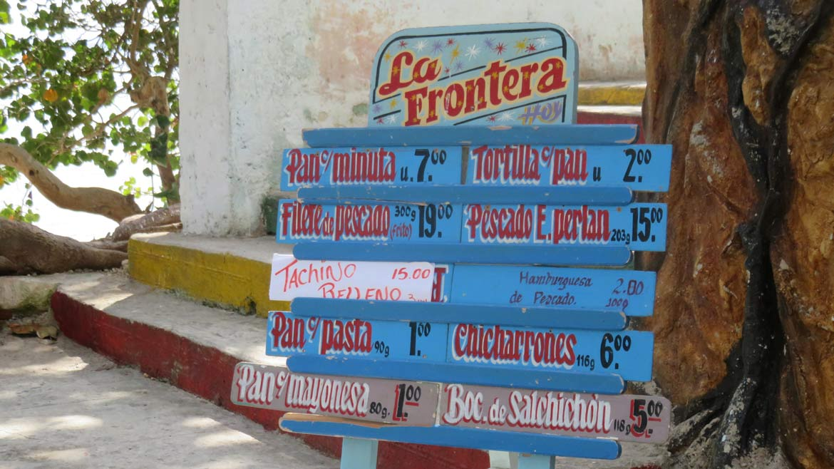 Food at the locals beach at Caibarien is great value - if you have local pesos in your pocket