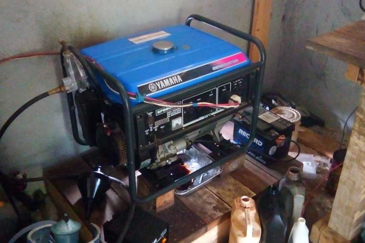 Generator at a house sit off the grid