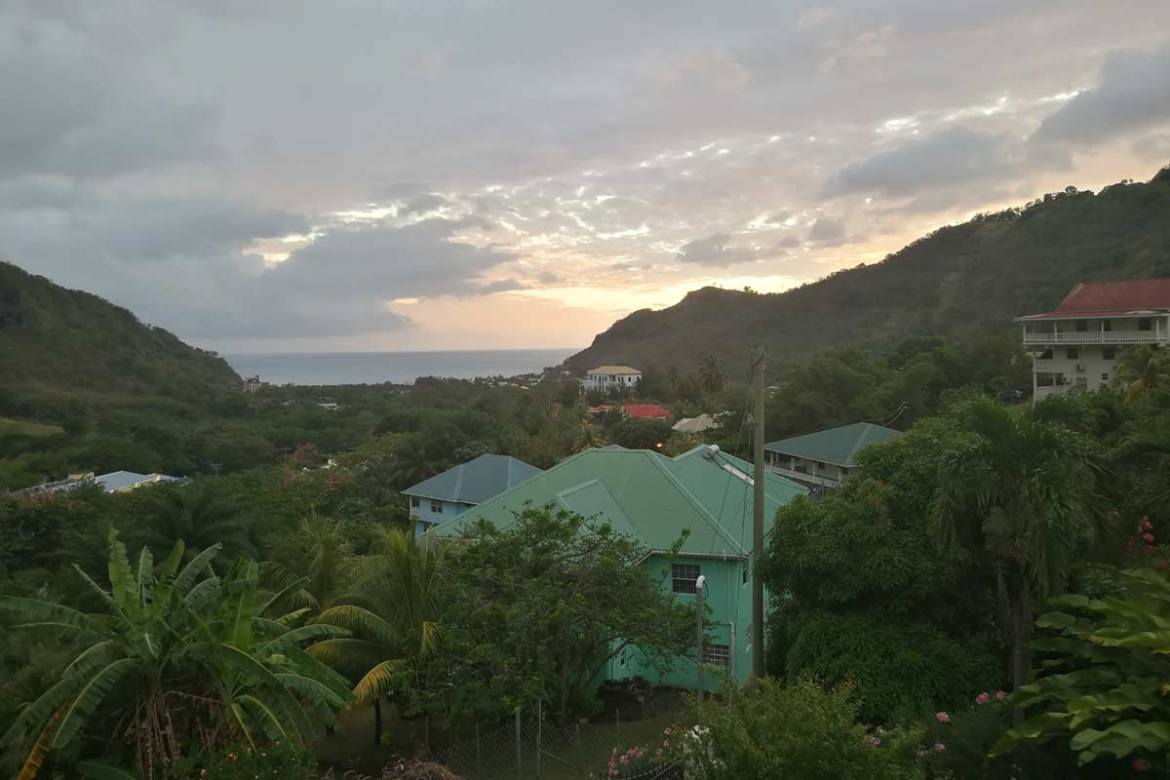 Sunset over Buccament Bay in Caribbean
