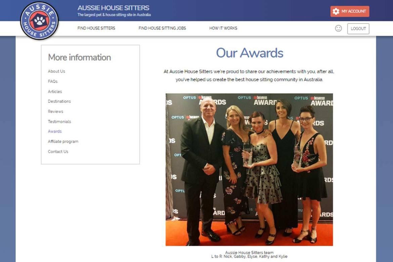 Aussie House Sitters Team Winning Award
