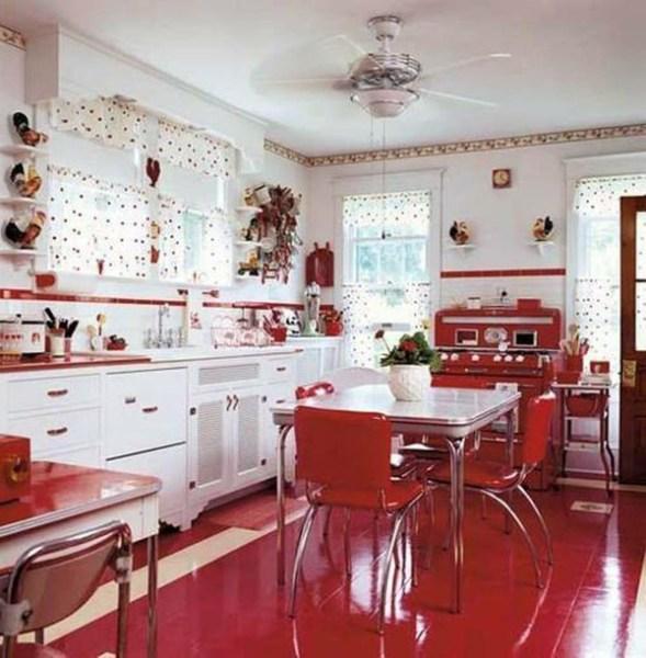 red and white vintage kitchen 25 Inspiring Retro Kitchen Designs | House Design And Decor