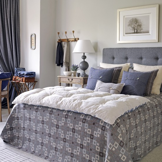 Relaxed country bedroom | Bedroom decorating idea | Upholstered headboard | Image | Housetohome