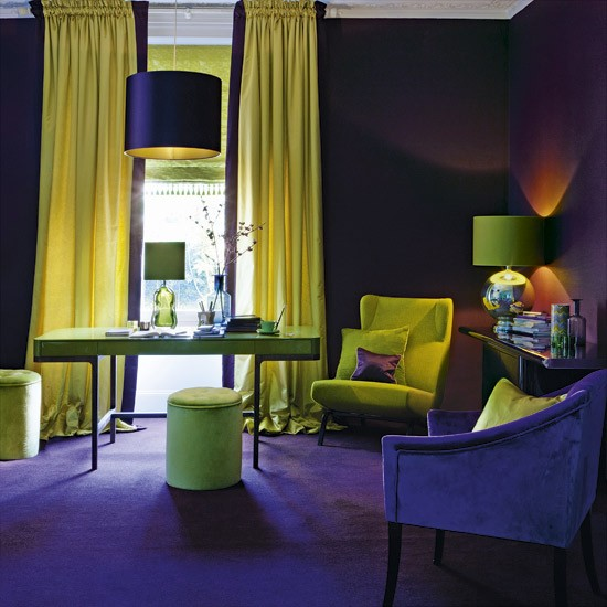 Living Yellow Room Purple And