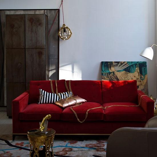Red and gold living room | living room designs | brass | Livingetc | Housetohome