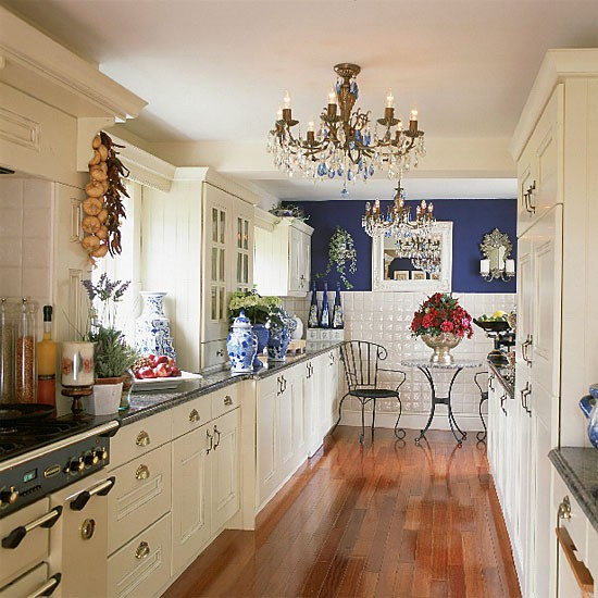 white galley kitchen designs Blue and white galley kitchen | Kitchen decorating