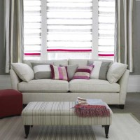 Grey and pink striped living room | Living room furniture ...