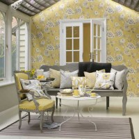 Yellow and grey living room